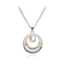 Women Fashion 925 Sterling Silver ''I Love You To The Moon and Back'' Necklace