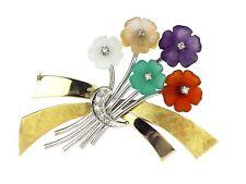 Blumen Strauß 585 Gold Brillant Amethyst Citrin Karneol Jade Chrysopras Brosche