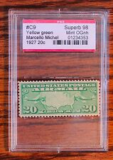 PSE CERTIFIED #C9 1927 20c Superb 98 Mint OGNH YELLOW GREEN AIRMAIL STAMP