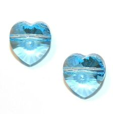 SCH315 AQUAMARINE Blue Faceted Side-Drilled Heart 10mm Swarovski Crystal Bead 2p