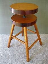 """Vintage Stool Mid Century Modern Wood Adjustable 22-25"""" Tall 4-Leg Stand, Table"""