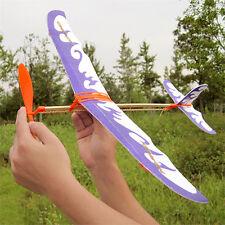 1X Foam Elastic Powered Glider Plane Thunderbird Kit Flying-Model Aircraft-Toy!