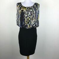 Aidan Mattox Dress Size 6 Silk Rayon Chiffon Sleeveless Black Beige Blue Womens