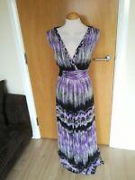 Ladies Dress Size 20 M&Co Purple Long Maxi Chiffon Party Evening Wedding Races