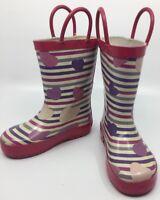 Laura Ashley Girls Purple White Pink Stripes Hearts Rain Boots Toddler 7 GUC