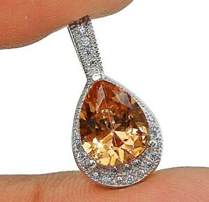 Flawless 2CT Padparadscha Sapphire & Topaz 925 Sterling Silver Pendant , V3
