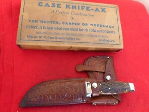 Case Tested XX RARE Tooled sheath green bone MINT IN BOX knife hatchet axe set