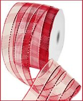 2.5 Inch Christmas Peace On Earth Black Red Dove Wired Ribbon 5 Yards