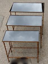 1950/70' Série de 3 Tables Gigognes Modèle Bambou Maison Baguès