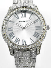 Henley Mens Big Dial Sparkling Crystal Bling, Silver Tone Bracelet Watch, Boxed