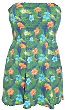 c21f60b08bb NEW  YOURS  PLUS SIZE GREEN TROPICAL FLORAL STRAPLESS SUMMER BANDEAU TUNIC  TOP