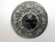 "NEW Large Scottish Black Stone 3"" Brooch Antique Finish Kilt Fly/Piper Plaid"