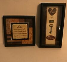 Set of 2 Black Framed Inspirational Quote Pictures Home Decor Love and Life