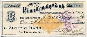 Tombstone AZ 1881 Bank Check Signed P.W. Smith Who Knew Wyatt Earp Doc Holliday