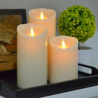 Luminara Moving Wick Pillar Flickering Electric LED Candle Set Battery Operated