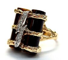 14k Yellow Gold Two Tiger Eyes Cylinders 0.10 ct Diamond Accent Ring #E