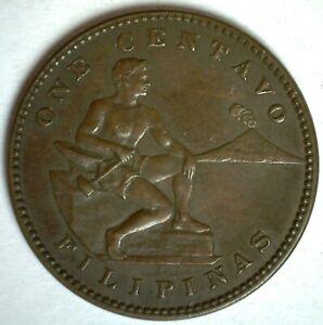 1912 S Philippines Bronze Centavo Coin Extra Fine Circulated Man Hammer Anvil