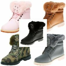 WOMENS ANKLE BOOTS FUR TOP LINED STRONG GRIP SOLE WINTER SNOW LADIES LACES SHOES