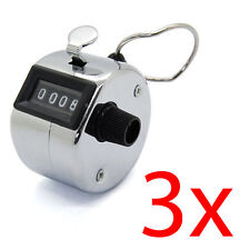 3 X MECHANICAL HAND TALLY NUMBER COUNTER CLICK CLICKER 4 DIGIT COUNTING MANUAL