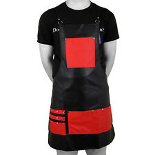 Bib Apron Leather Red Black Women Men Barber Waterproof Aprons By Forgica®
