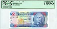 BARBADOS $2 DOLLARS 2012 CENTRAL BANK GEM UNC PICK 66 c  LUCK MONEY VALUE $192