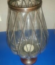 "16"" Tall Candle Holder Hand Blown Glass Hurricane Brass Bubble Vase"