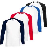 Fruit of the Loom Mens Womens Long Sleeve Baseball Tee T-Shirt FOTL
