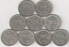 9 DIFFERENT 10 ORE COINS from SWEDEN with CONSECUTIVE DATES of 1963 to 1971