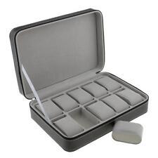 10 Grids PU Leather Watch Display Storage Box Case Tray Zippered Travel
