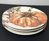 "Pottery Barn Harvest Pumpkin 11"" Dinner Plates Set of 3 Thanksgiving Fall NEW"