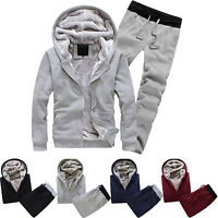 2Pcs Men Winter Fitness Tracksuit Set Running Hoodie Sweatshirt Pant Casual Suit