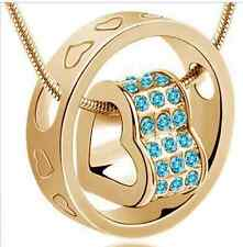 GOLD COLOURED AQUA JEWELLED HEART SHAPE PENDANT (N14) MORE AVAILABLE