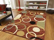 Modern Rugs Multi Geometric Swirls Lines Abstract Carpet Red 8x11 Rug 5x8 Cream