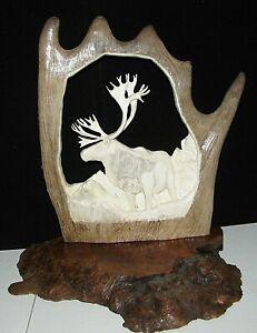 Shed Caribou Antler Sculpture Carving Hand Carved Caribou Mounted on Wood