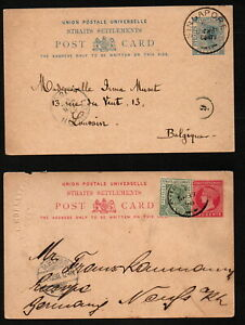 MALAYA STRAITS SETTLEMENTS 3 QV used postal stationery cards (1 with reply)