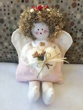 "Vintage Hand made Angel Puppet 12"" tall Straw Hair Fabric, Cloth So Cute Ooak"