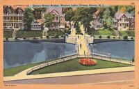 Postcard Emory St Bridge Wesley Lake Ocean Grove NJ