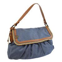 FENDI Logos Hand Bag Purse Indigo Blue Denim 2373-8BR436-RQ9-058 AK35549c