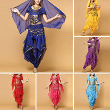 Belly Dance Costume Top Wavy Harem Pants Belt Festival Party Outfit Bollywood
