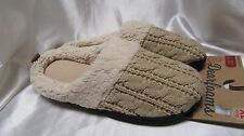 WOMEN`S DEARFOAMS HOUSE SLIPPERS SIZE XL (11-12) NEW BEIGE FAUX FUR LINED #50348