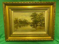 Antique Oil Painting Signed S.E. 1907 River Scene Original Frames