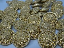 Vintage Round Gold Paisley Swirl Metal Shank Buttons 28mm Lot of 8 B150-4