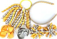School Hair Bow Clips Alice band Korker Bobble PonyTail Holder Sets(Yellow&Grey)