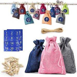 24 Pack Christmas Advent Calendar Gift Bags Fillable Xmas Tree Hanging Sack DIY