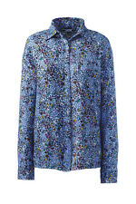 Lands' End NWT Women's Plus Size Brushed Rayon Collared Shirt Blue Floral MSR$60