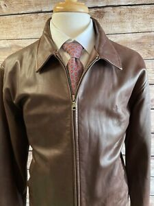 Polo Ralph Lauren Leather Harrington Bomber Jacket Size L Brown Lambskin