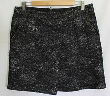 COUNTRY ROAD ~ Black & White Flecked Fabric A-Line 2 Pockets Skirt L