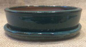 16cm Green Glazed Oval Shaped Bonsai Pot With Matching Drip Tray 15x11.5x4cm0