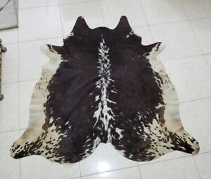 """Black And White 52"""" x 52"""" Cowhide Area Rugs Hair On Cow Skin Home Floor Rug"""