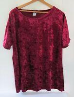 American City Wear Womens Size 1X Short Sleeve Top Burgundy Shiny Velvet Feel